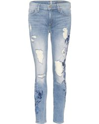7 For All Mankind - The Ankle Skinny Embroidered Jeans - Lyst