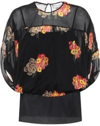 RED Valentino - Floral-printed Silk Top - Lyst