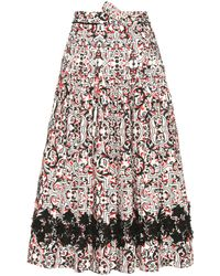 Tomas Maier - Printed Cotton Skirt With Appliqué - Lyst
