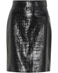 Gucci - Embossed Leather Pencil Skirt - Lyst