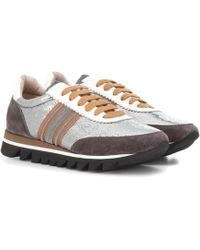 Brunello Cucinelli - Colorblocked Suede Trainers - Lyst