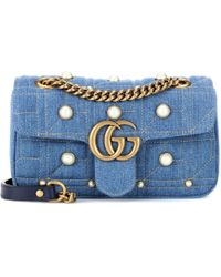 Sac cross-body en denim GG Marmont K92uQRO5B