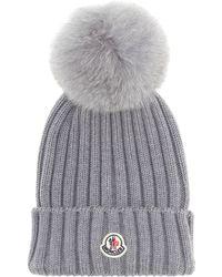 Moncler - Fur-trimmed Wool Hat - Lyst