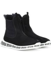 Miu Miu - Logo Ankle Boots - Lyst