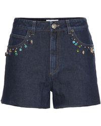 Sonia Rykiel - Embellished High-rise Denim Shorts - Lyst