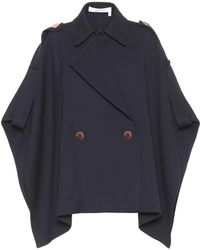See By Chloé - Navy Blue Cotton Cape - Lyst