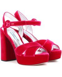 Prada - Plateau Velvet Sandals - Lyst