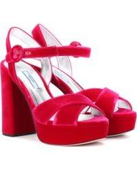 Prada - All Designer Products - Plateau Velvet Sandals - Lyst