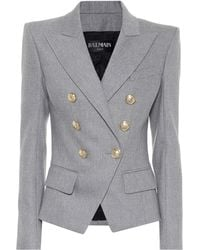 Balmain - Double-breasted Wool-cashmere Flannel Blazer - Lyst