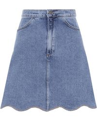 M.i.h Jeans - Jeansrock mit Wellenkanten - Lyst