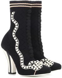 Fendi - Rockoko Knitted Ankle Boots - Lyst