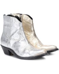 Golden Goose Deluxe Brand - Young Metallic Leather Ankle Boots - Lyst