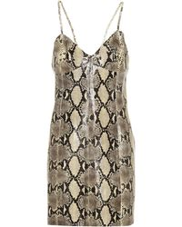 51939ce44 Gucci Jersey Dress With Contrast Trim in Natural - Lyst