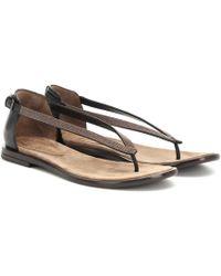 352f25ddc17c52 Brunello Cucinelli - Women s Chain Trim Thong Sandals - Black - Size 39.5  (9.5)