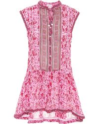 Poupette - Honey Printed Cotton Minidress - Lyst