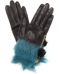 Prada - Fur-trimmed Leather Gloves - Lyst