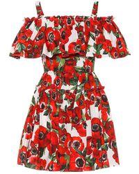 Dolce & Gabbana Miniabito a stampa floreale in cotone