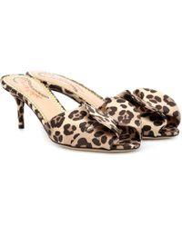 Charlotte Olympia - Satin Leopard Mules - Lyst