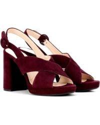 9ea6969484a Prada Embellished Suede Sandals in Natural - Lyst
