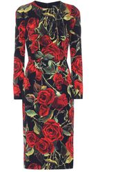 Dolce & Gabbana - Floral Print Stretch-silk Dress - Lyst