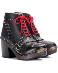 Burberry - Embellished Leather Ankle Boots - Lyst
