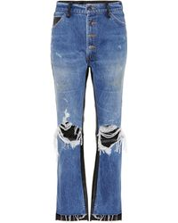 Amiri - Leather-trimmed Cropped Jeans - Lyst