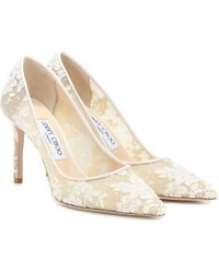 f7a16b30ca2 Lyst - Jimmy Choo Lace Romy 85 Pumps in White