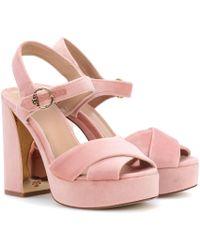 Tory Burch - Loretta Velvet Plateau Sandals - Lyst