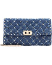 f72018be3db1 Valentino Rockstud Spike Denim Shoulder Bag in Blue - Lyst