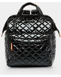 MZ Wallace - Quilted Black Lacquer Top Handle Backpack - Lyst