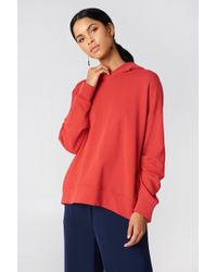 NA-KD - Gathered Sleeve Hoodie Red - Lyst