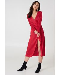 NA-KD - Wrapped Jacquard Satin Dress - Lyst