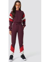 NA-KD - Blocked Sweatpants Dark Red - Lyst
