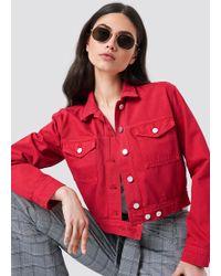 NA-KD - Cropped Denim Jacket Red - Lyst