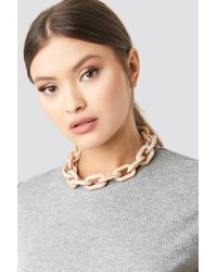 NA-KD - Nude Resin Chain Necklace Nude - Lyst