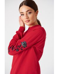 NA-KD - Rose Embroidery Sleeve Jumper Red - Lyst