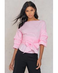 7bb440dba1 SHEIN - Sleeve Bow Tie Blouse Pink - Lyst