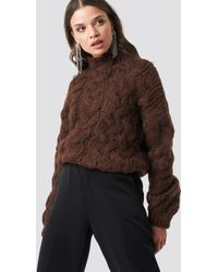 Mango - Trenzas Sweater Brown - Lyst