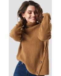 622d72753 Lyst - Missguided Tan Roll Neck Step Hem Knitted Sweater in Brown