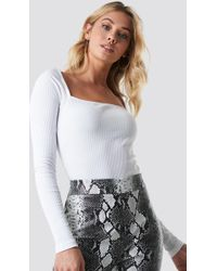 NA-KD - Square Shape Ribbed Top White - Lyst