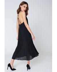 NA-KD | Pleated Chiffon Strap Midi Dress | Lyst