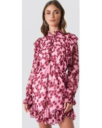 NA-KD - High Neck Frill Detail Playsuit Pink/burgundy Roses - Lyst