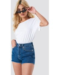 Mango - Frayed Jeans Shorts - Lyst