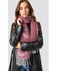 NA-KD - Wool Logo Scarf Dusty Pink - Lyst