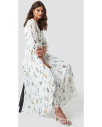 4d7a6037b4 Trendyol Flower Pattern Maxi Dress Ecru in Blue - Lyst
