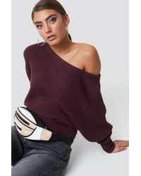 NA-KD - Off Shoulder Knitted Sweater Burgundy - Lyst