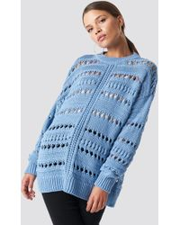 Mango - Open Work-detail Jumper Blue - Lyst