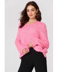 Mango - V-neckline Oversize Jumper Pink - Lyst