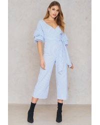 SHEIN - Deep Shoulder Gathered Sleeve Jumpsuit - Lyst