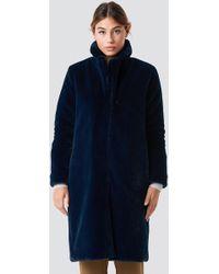 Rut&Circle - Long Faux Fur Coat Dk Navy - Lyst